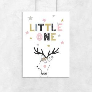 plakat jeleń i napis little one