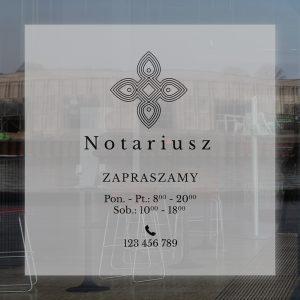okleina okienna z informacjami do biura notariusza