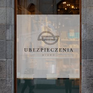 okleina okienna z logo biura ubezpieczeń