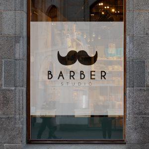 naklejka na szybę do studia barberskiego
