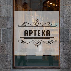 naklejka na szybę z logo apteki