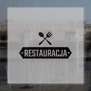 naklejka na okno do restauracji z logo