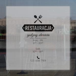folia na okno do restauracji z godzinami otwarcia