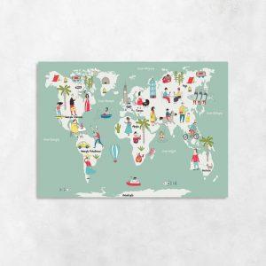 obraz miętowy z mapą