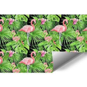 różowe flamingi i zielone liście jako dekoracja