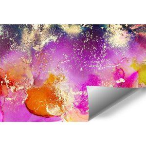 różowa fototapeta z plamami i kleksami