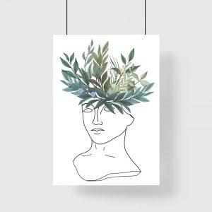 plakat z liściastą kompozycją