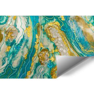 fototapeta abstrakcja turkusowo złota