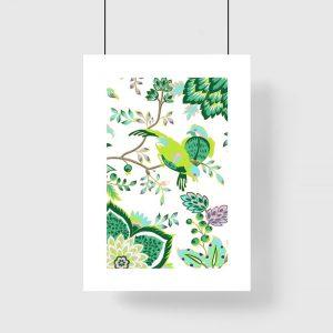 Zielony plakat z motywem ptaków