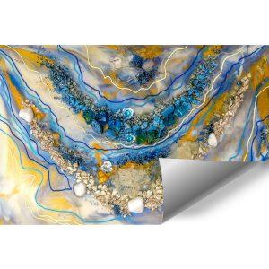 Fototapeta dekoracja z kamieniami abstrakcja pomarańczowo niebieska żywiczna